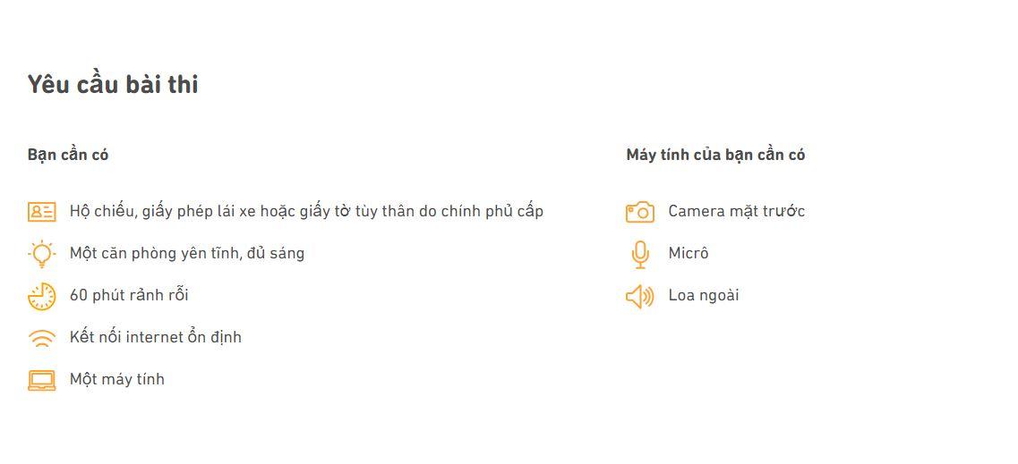 Yêu cầu bài thi Duolingo English Test